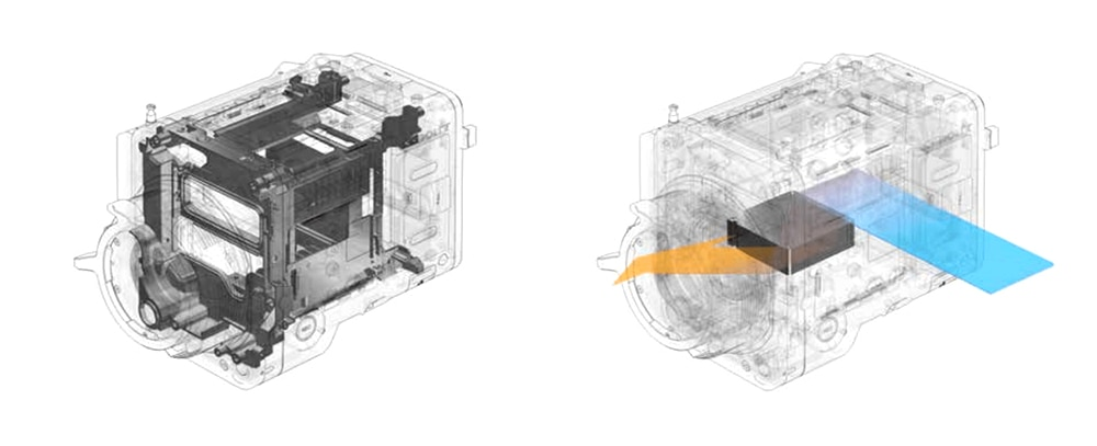 CAD diagrams showing robust internal structure of VENICE camera