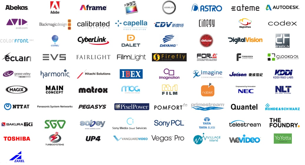 Company logos for companies supporting XAVC including Abekas, Aframe®, Avid, Adobe, Apple Final Cut, Autodesk, Blackmagic Design, coLorFront, Corel, Dalet, Dayang, EVS, Grass Valley, Hitachi Solutions, NEC, Panasonic System Networks, Pomfort, Quantel, Sobey, Telestream, Toshiba and more.