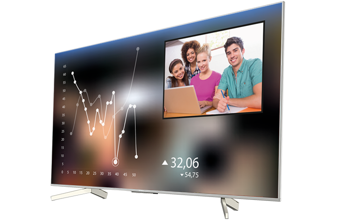 A BRAVIA display showing a remote learning video conference display