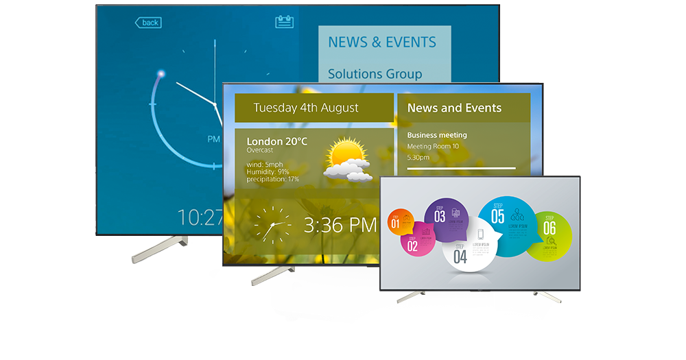 A range of BRAVIA displays showing a variety of content