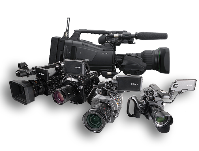 Group shot of Sony professional camcorders