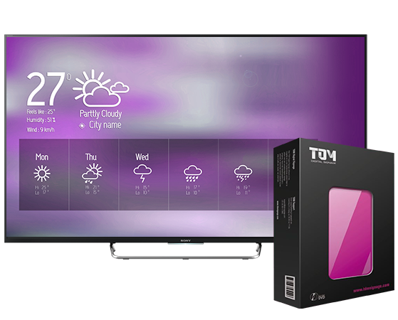 A BRAVIA display showing digital signage content, alongside a box of our TDM digital signage software