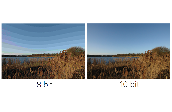 A comparison of two landscape images, one showing a lot of horizontal banding and the other without