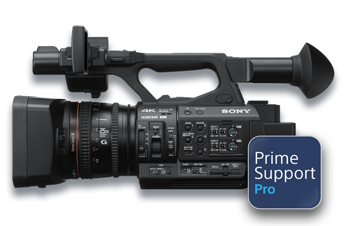 Side-view of PXW-Z190 with PrimeSupport logo