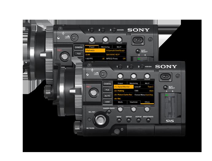 Vue latérale de la fonction Quick Menu des caméras PMW-F5/F55