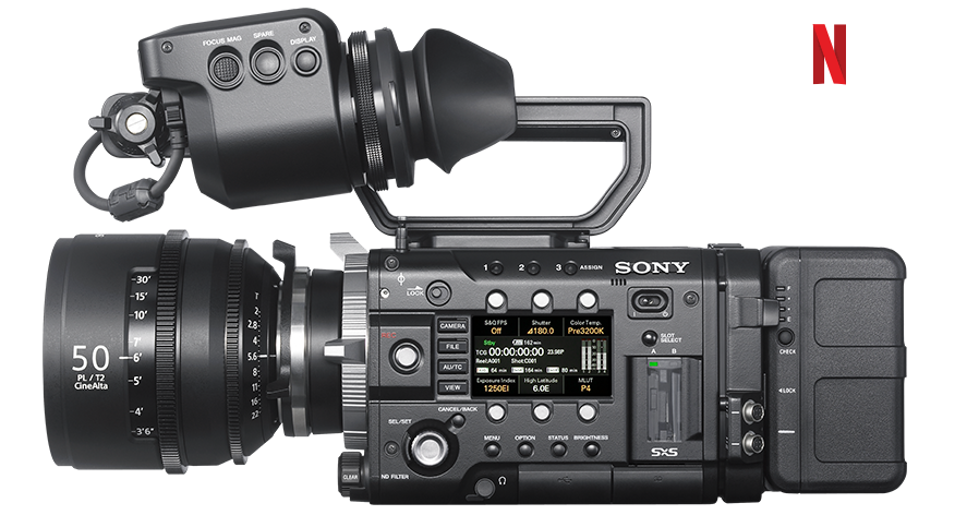 Side-view of PMW-F55 camera