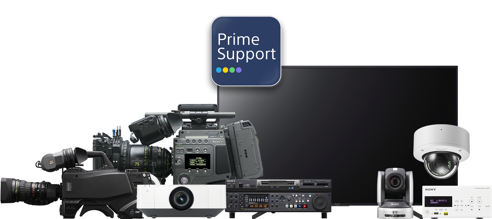 Banner image showing a range of Sony Professional products that can all be covered by PrimeSupport, along with the PrimeSupport logo.