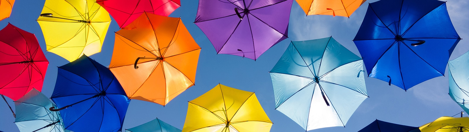Illustrative image of colourful umbrellas representative of the cover provided by Sony Professional Solutions Europe standard product warranty