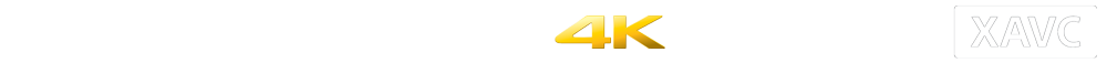 FS7 product logos including alpha-mount system, Exmor CMOS sensor, 4K, XDCAM and XAVC logo
