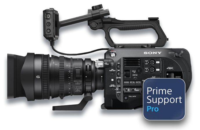 PXW-FS7 with PrimeSupport Pro logo
