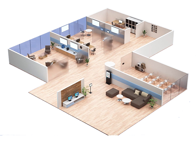 An isometric diagram of an office showing TEOS solutions installed in a number of the rooms