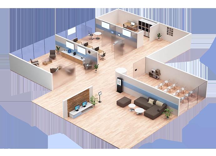 Schéma isométrique d'un bureau montrant les solutions TEOS installées dans plusieurs pièces