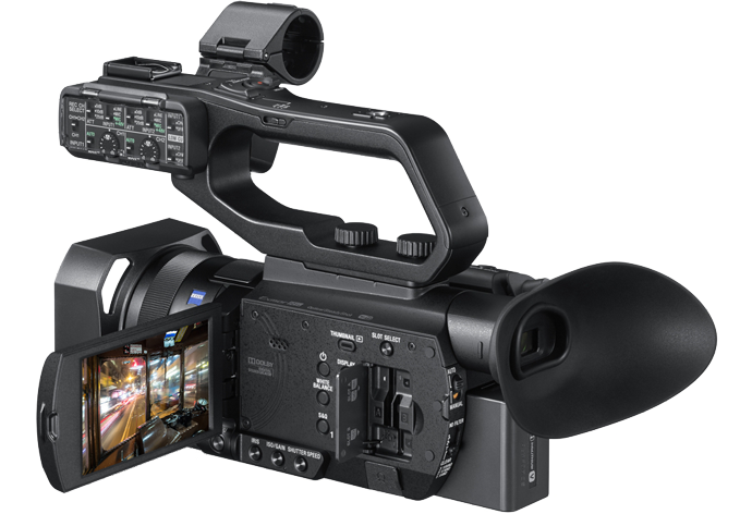 Side view of PXW-Z90 with LCD screen on and media slots open