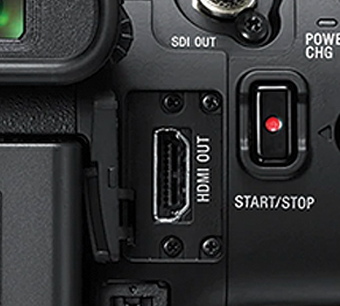 Close-up of A/V connectors on PXW-Z90
