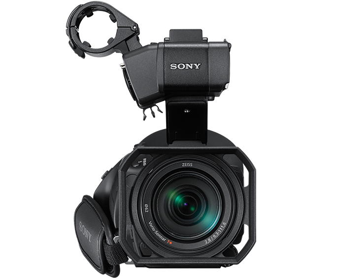 Front view of HXR-NX80 with images representing capability of fixed wide-angle zoom lens
