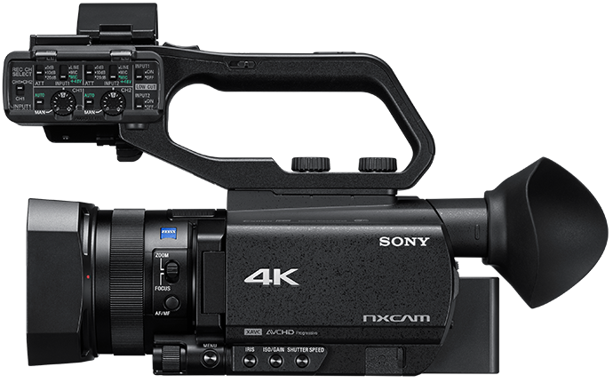 Side-view of HXR-NX80 camcorder