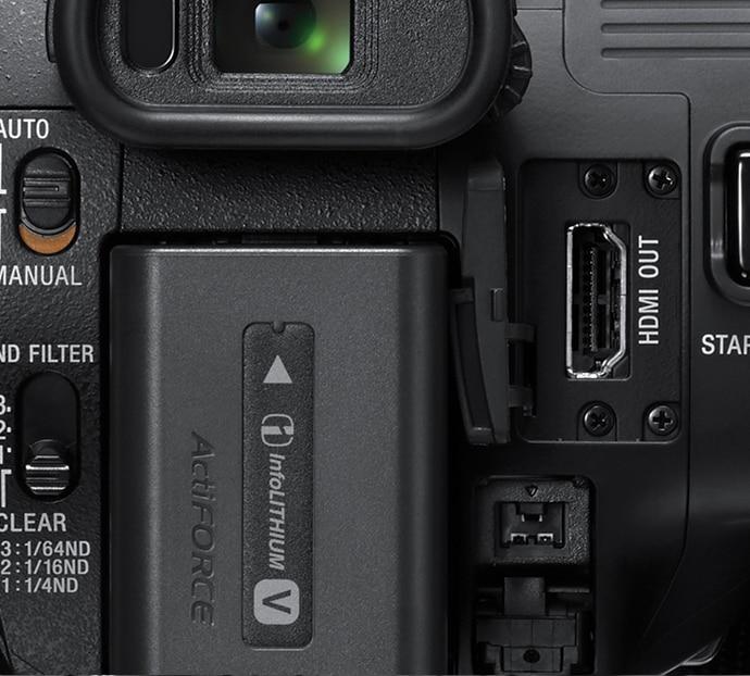 Close-up of A/V connectors on HXR-NX80