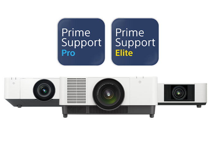 Image showing a VPL-FHZ131L, VPL-FHZ66 and VPL-PHZ12, all covered by PrimeSupport.