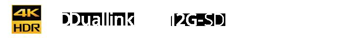 4K HDR, Duallink, 12G-SDI, XDCAM logos
