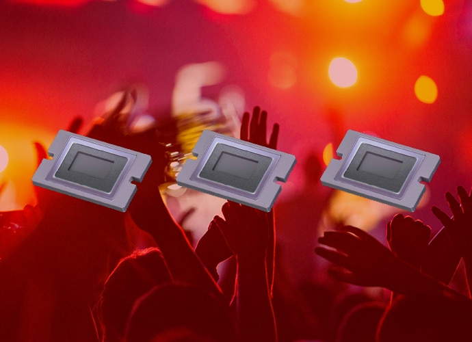 Three 2/3-inch Exmor™ CMOS sensors above a sea of hands reaching upwards