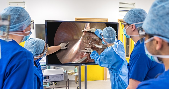 Doctor showing medical students surgical content on a Sony 4K 3D monitor