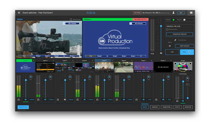 Try it now, with a 30 day trial of 5 hours switching time*, for free.: Virtual production interface, musicians on a stage