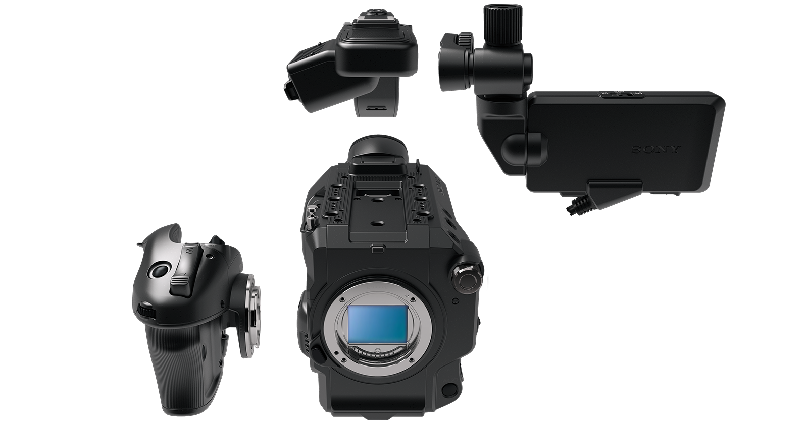 PXW-FS5 II with Smart Grip, LCD screen and top grip detached.