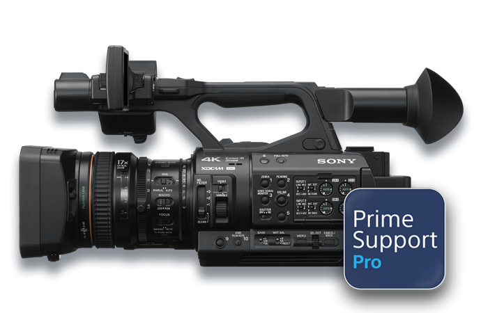 Vue latérale de la caméra PXW-Z280 avec le logo PrimeSupport