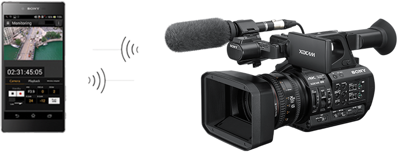 PXW-Z190 with 3G adapter in wireless communication with mobile phone