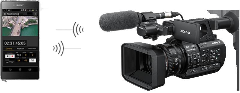 PXW-Z190 con adattatore 3G in comunicazione wireless con un telefono cellulare