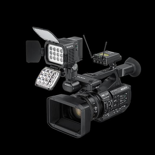 PXW-Z190 con supporto multi-interfaccia, UWP-D Pro Audio e luce HVL-LBPC