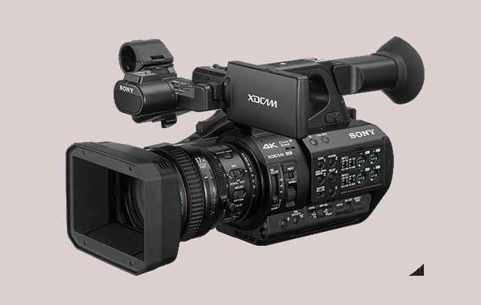 Vista a 3/4 del camcorder portatile PXW-Z280