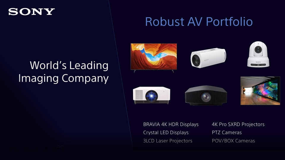 Overview of Sony's AV portfolio, technologies that address the evolving needs of our customers.