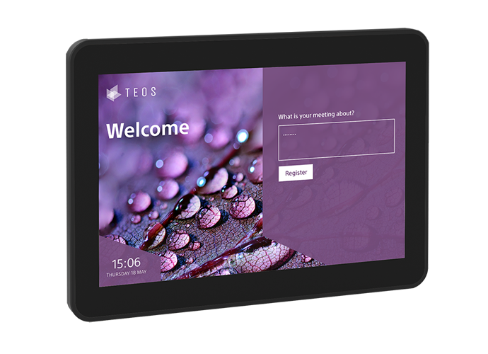 A close-up of our TEOS Reception tablet showing a purple welcome screen.