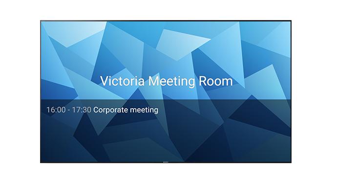 Image d'un écran professionnel Sony BRAVIA affichant une image d'entreprise à l'écran.