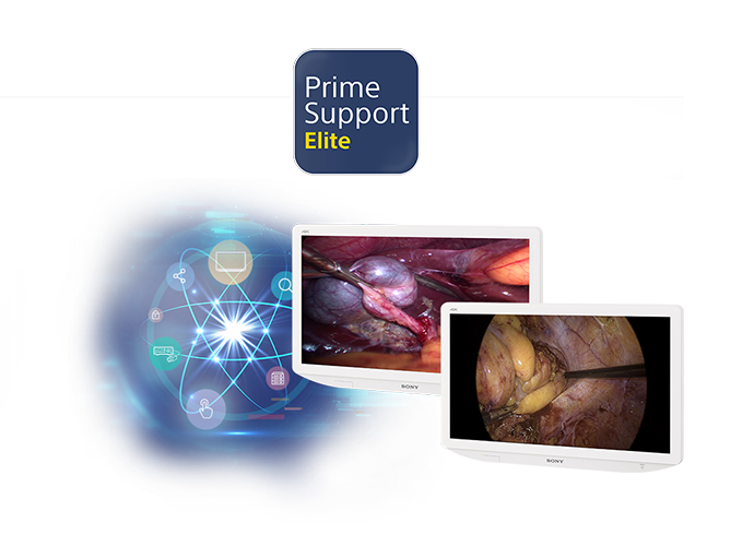 PrimeSupportElite logo and range of Sony surgical monitors covered by PrimeSupport