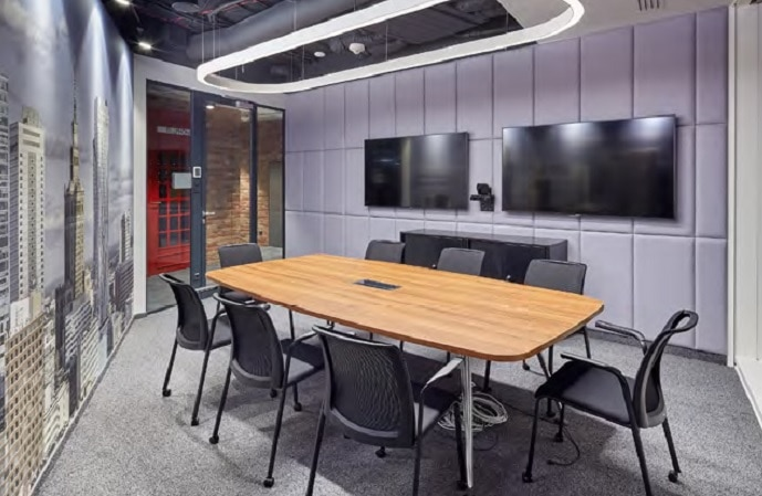 A meeting room at Hargreaves Lansdown, with two Sony BRAVIA Professional Displays visible in the background.