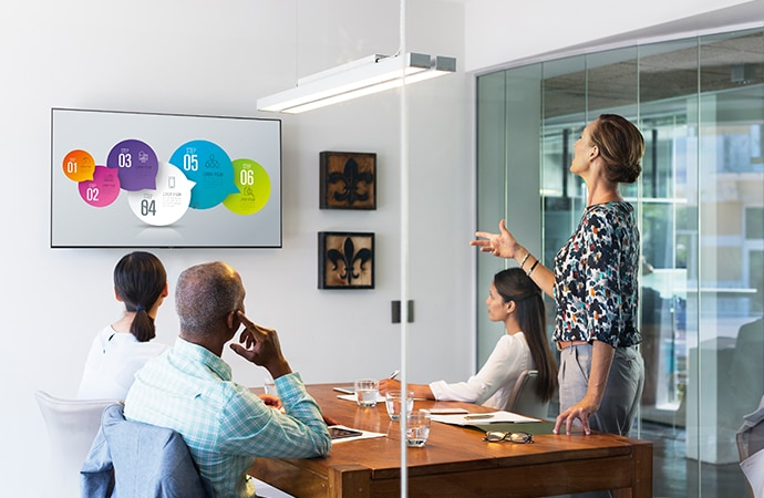 A group of people in a meeting room looking at a presentation on a BRAVIA screen