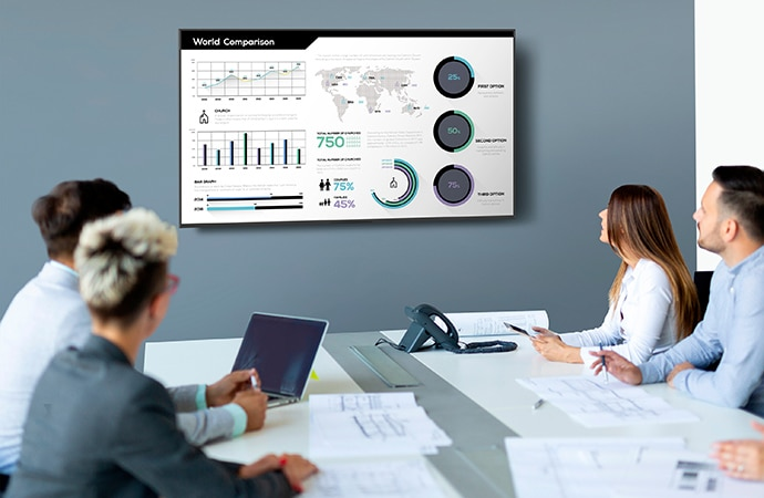 Four meeting attendees view facts and figures on a wall-mounted BRAVIA display in a meeting room