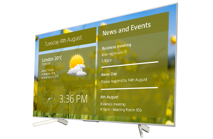 A BRAVIA display showing a digital signage display showing weather information