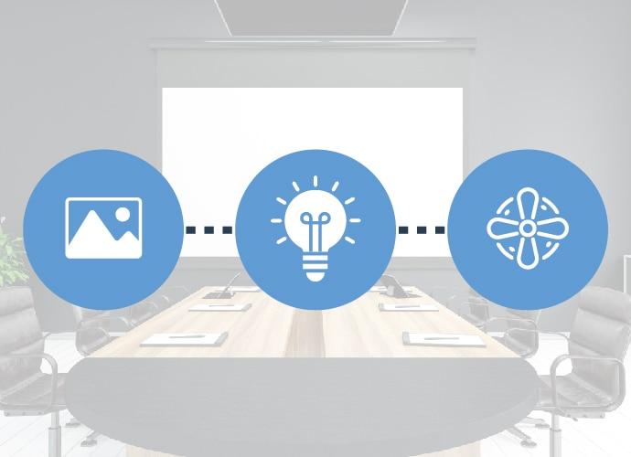 Una línea de tres iconos que representa la configuración inteligente. Icono de imagen conectada a un icono de bombilla conectado a un icono de ventilador.