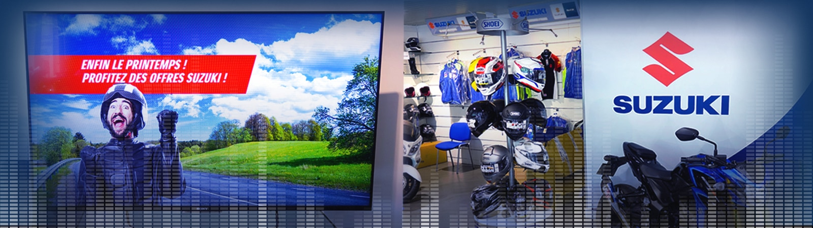Banner image showing the interior of the Suzuki showroom, along with a Sony BRAVIA Professional Display being used for digital signage.