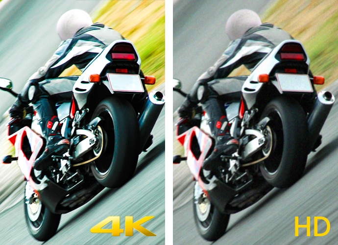 Side-by-side images of a motorcyclist, representing the difference in quality between 4K and HD displays.