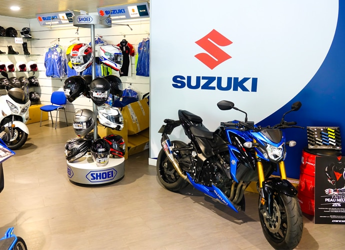 Image showing the interior of the Suzuki motorcycle showroom.