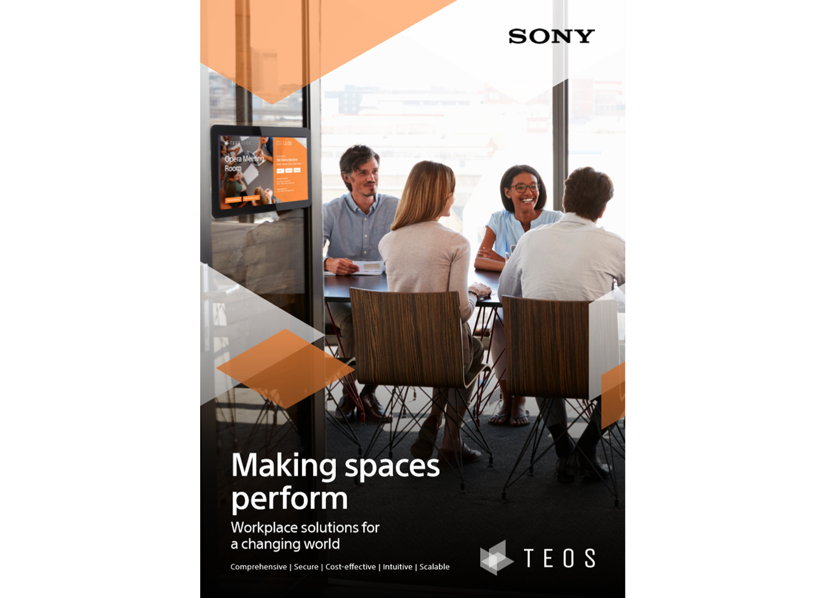 Front page of TEOS brochure: Making spaces perform, workplace solutions for a changing world
