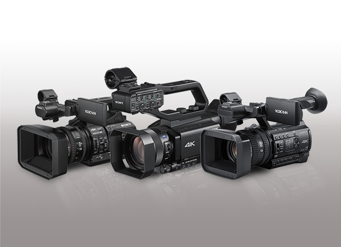 A trio of our Professional Camcorders shown in 3/4 view.