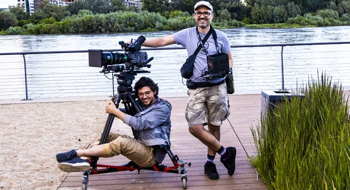 FX9 on tripod with cameraman and director