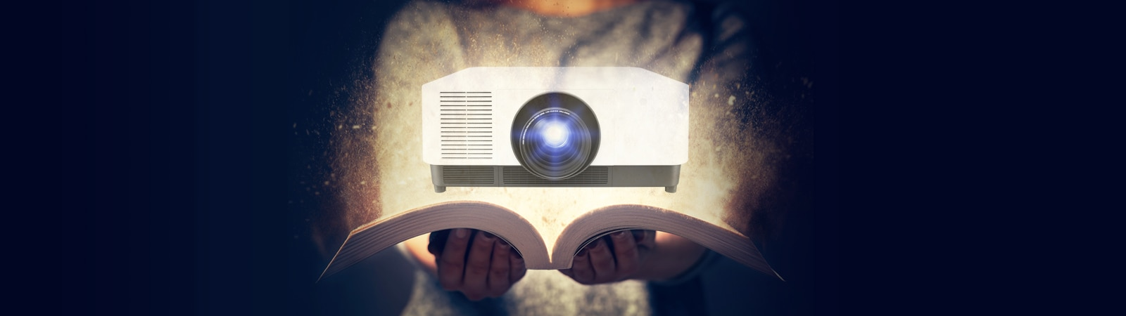 Banner graphic representing a buying guide to Sony professional projectors.