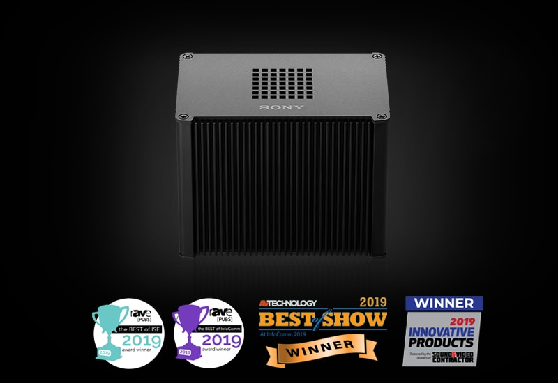Edge Analytics Appliance box unit featuring the awards for best of show InfoComm 2019 and ISE 2019, and Innovative products award 2019 from Sound and Video Contractor magazine.