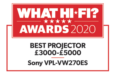 The What Hi Fi? award badge for best projector £3000-£5000 2020.